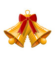 gold ringing christmas bells with red bow vector image vector image