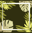 green tropical leaves on the dark background vector image vector image