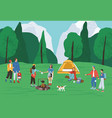 group active people spending time at camping in vector image