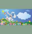 happy bunny with flower running and jumping vector image