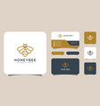honey bee animals logo design and business card vector image