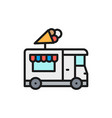 ice cream truck street fast food flat color line vector image