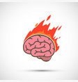 icon human brain burns in flame migraine or stress vector image vector image