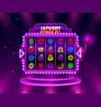 jackpot slots neon icons casino slot sign machine vector image vector image