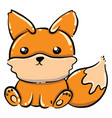 little fox on white background vector image vector image