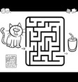 maze activity game with cat and milk vector image vector image