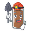 miner fresh chocolate splash on pouring mascot vector image vector image
