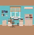 office room interior with workspace working vector image