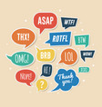 paper speech bubbles with phrases asap rotfl lol vector image vector image