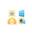 power home solar cell set vector image