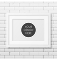 Realistic white frame A4 on the brick wall vector image vector image