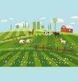 rural countryside landscape farmhouse spring vector image vector image