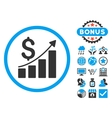 Sales Growth Flat Icon with Bonus vector image vector image