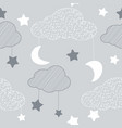 seamless pattern with sky elements in line art vector image vector image
