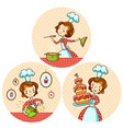 set with girl cook vector image