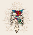 spine bones and roses vector image vector image