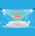 spotlights scene light effects with snowflakes vector image vector image