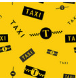 taxi symbols black and yellow seamless background vector image