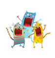three friends cats singing karaoke song vector image vector image