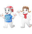 two cute polar bear cartoon in winter clothes vector image