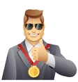 winner with medal vector image vector image