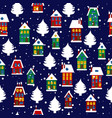 winter rural seamless pattern with houses and vector image vector image
