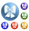 xmas bow icons set vector image