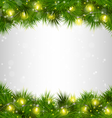 Yellow Christmas lights on pine branches on vector image vector image