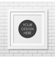 Realistic square white frame on the brick wall vector image