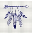 Arrow with feathers on notebook page vector image vector image