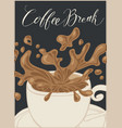 banner with a cup of coffee and inscription vector image vector image