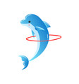 bottlenose smart dolphin showing trick with hoop vector image vector image