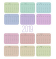 calendar 2019 week starts from sunday business vector image vector image
