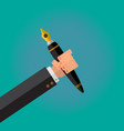 calligraphy pen in a writer male hand vector image