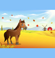 cartoon brown horse in the autumn weather vector image