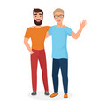cartoon of couple boy males vector image vector image
