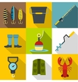 Catch fish icons set flat style vector image vector image