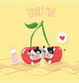 cherry milk vector image vector image