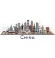 china city skyline with gray buildings isolated vector image vector image