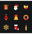 Christmas flat golden icons vector image vector image
