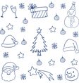 Christmas set flat doodle art vector image vector image