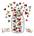 colored hearts in a glass jar vector image vector image
