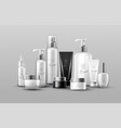 cosmetic bottle mock up set isolated packages vector image