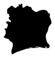 cote d ivoire - solid black silhouette map of vector image vector image