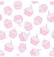 cupcakes seamless pattern sweet background vector image