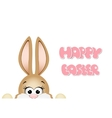 easter bunny peeking out from bottom edge of vector image vector image