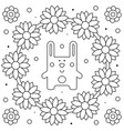 floral wreath rabbit coloring page vector image