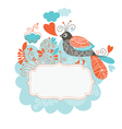 Frame for your text with bird and flowers vector image vector image