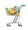 full shopping cart market food grocery and vector image vector image
