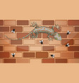gecko on brick wall with many fly in cartoon style vector image vector image